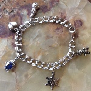 Sterling Silver Charm Bracelet w/ 5 Charms Sz7 925